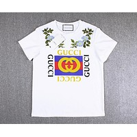 """Gucci""Popular Women Letters Print Flower Embroidery Round Collar T-shirt Pullover Top White"