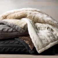 Cable Knit & Luxe Faux Fur Stroller Blanket