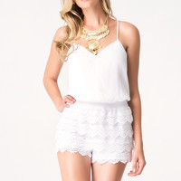 bebe Womens Lace Tiered Romper White