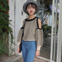 Striped Knit Cutout Shoulder Pullover Sweater