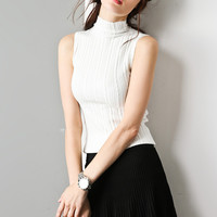 Simple Bodycon Cable Knit Sleeveless Sweater TP0362