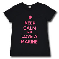 "Ladies ""Keep Calm Love a Marine"" Black T-shirt"
