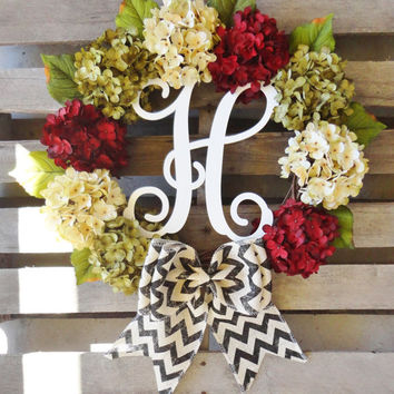 Christmas Wreath,Monogram Wreath,Grapevine Wreath, Hydrangea Wreath, Door Monogram,Xmas,Christmas Decor, Door Hanger, Holiday Wreath,Wreaths