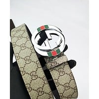 GUCCI hot selling embossed multicolored belt fashion men's and women's casual belt #5
