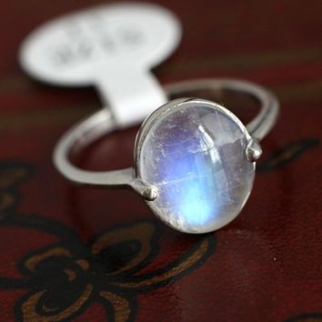 Simple Nature Moonstone Silver Ring