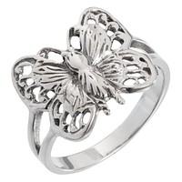 Butterfly With Detailed Body Sterling Silver Ring