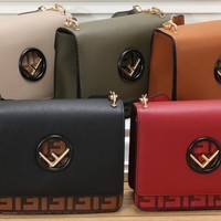 """FENDI"" Women Fashion Stitching Multicolor Stripe Multifunction Purse Long Section Button Flip Bag"