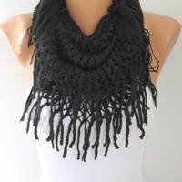 Infinity Scarf Loop Scarf Circle Scarf Fabric Knitted Lace Scarf - Cowl Scarf - Long Scarf - Tube Scarf - Velvet - Black - fatwoman