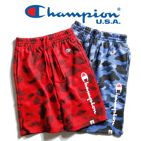 Champion & Ape New fashion casual camouflage pants with men and women rope sports shorts two color