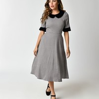 Banned Houndstooth & Faux Fur Short Sleeve Izzy Swing Dress