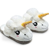 Fralosha Winter Unicorn Indoor Slippers Plush Home Shoes Unicorn Slippers for Grown Cartoon Fur Unisex Indoor Chausson Licorne