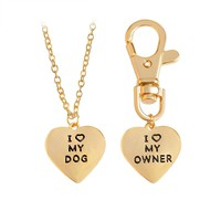 2pcs/set I LOVE MY DOG I LOVE MY OWNER Pendant Necklaces Keychain Key Chain Keyring Gold Silver Pet Dog Tag Gift for Dog Parents