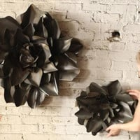 Small Metal Flower Wall Hanging Raw Finish