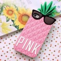 3D Cute Pineapple Pattern Soft Silicone Case Cover For iPhone 5 (Pink)