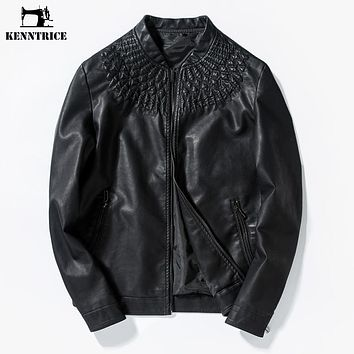 New Spring Autumn Embroidery Leather Jackets Black Retro PU Leather Coats Motorcycle Leather Jackets Male