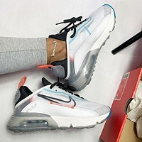 Bunchsun Nike Air Max 2090 Popular Women Men Breathable Sport Running Shoes Sneakers White&Grey&Blue