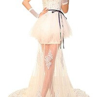 DAPENE Sexy and Charming Strapless Lace Fishtail Slim Wedding Dress