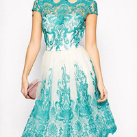 Green Vintage Hepburn Dress Short Sleeve Lace Embroidered Stitching Swing Midi Gown Dress