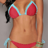 Watermelon Red Ruffled Tying Bikini
