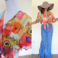 Vintage self tie cropped  tie dye sunflower flora flower button up watercolor blouse shirt