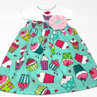 Baby Bodysuit Dress,  Baby Girl Summer Clothes, Cupcakes