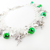Green Absinthe Silver Fairy Jingle Anklet Made to by angelyques