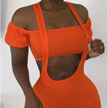 New style halter neck strapless blouse fake pocket two-piece trousers