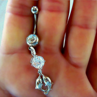 Navel Belly Button Ring Barbell Clear Crystal Dolphins Rhinestones