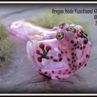 MADE TO ORDER  - Hand Blown Glass Tobacco Pipe - pink hand pipe with pink frog - critter pipe