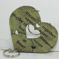 Heart Key chain set of 3 Always Together saying Best Friend Key chains Heart Puzzle