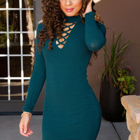 Norma Lace Up Dress - Teal