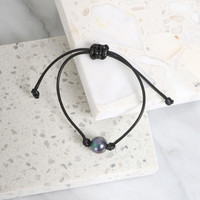 Pearl on a Cord Bracelet - Black
