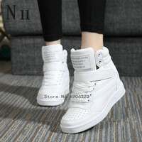 New 2016 spring autumn ankle boots heels shoes women casual shoes height increased high top shoes mixed color Winter boots