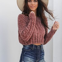 Past Curfew Chenille Cropped Rust Sweater