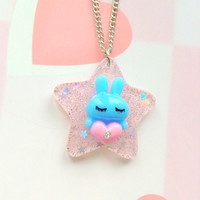 Kawaii sparkle star bunny pendant - Blue and pink - Fairy kei jewelry - sweet lolita - pastel goth - cute charm necklace