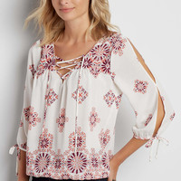 patterned peasant top with lace up neckline | maurices