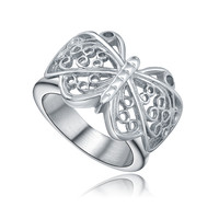 Stainless Steel Butterfly Filigree Ring - Silver Color