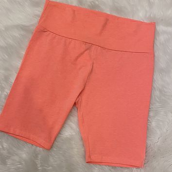 Chasing the Day Biker shorts Neon Coral