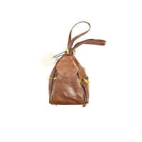 NWT Valentina Leather backpack purse / NEW / Made in Italy / convertible bucket bag / brown italian leather gold hardware / mini
