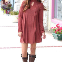 Long Sleeve Pleated Cut Out Sweater Dress {Brick}