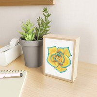 Yellow and Turquoise Rose Framed Mini Art Print by drawingsbylam