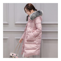 Winter Woman Down Coat Slim Middle Long Thick Fox Fur    pink   M