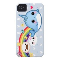 Cute baby narwhal with rainbow, clouds and stars Case-Mate iPhone 4 cases from Zazzle.com