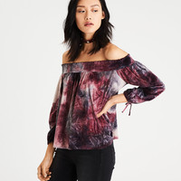 AE Tie-Dyed Velvet Off-the-Shoulder Top, Pink Tint