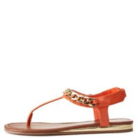 City Classified Chain T-Strap Thong Sandals