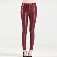 2015 Fashion Women PU Leather Pant Sexy Pencil Pants Female Plus Size S-4XL Trousers Red and Black = 1958650884
