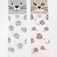 ASOS 2 Pack Cat And Mouse Socks
