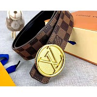 LV new personality men and women retro versatile smooth buckle belt Gold Buckle