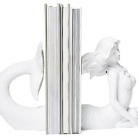 Mermaid Bookends, White