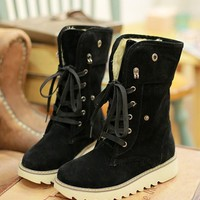 New Black Round Toe Lace-up Fashion Boots